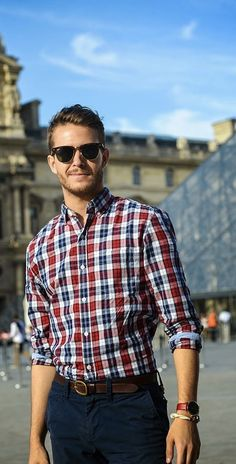 @iamgalla - with a simple summer outfit with a red blue gingham button collar shirt ray ban wayfarer sunglasses rolled up sleeves brown leather belt navy trousers watch bracelet   #summerstyle  #summeroutfits #plaid #menswear #menstyle #mensfashion
