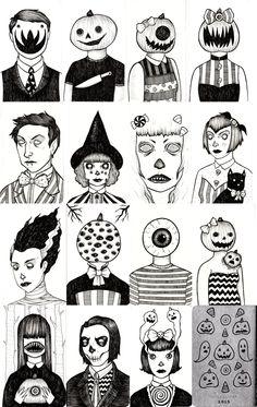 "funnyskullgrin: "" My tiny Halloween sketchbook. Creepy Drawings, Dark Art Drawings, Art Drawings Sketches, Doodle Drawings, Creepy Art, Weird Art, Desenhos Halloween, Creation Art, Arte Sketchbook"