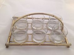 Vintage Drink Caddy Brass Bamboo on Etsy, $26.00