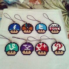 Social Network Mushrooms perler beads by pjthekilla