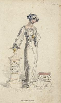 May morning dress, 1812 England, Ackermann's Repository