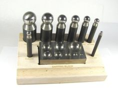 Steel Dapping 10 pc set Compact steel block with wood stand sizes 5,8 11,14,17,19,24,27mm