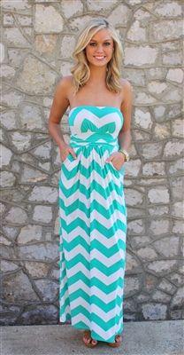 Mint Chevron Maxi Dress want!