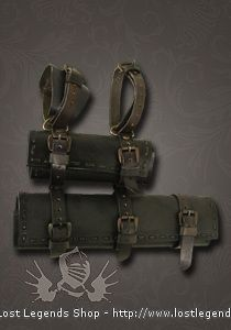 LARP Doppelschwerthalter Leder, schwarz