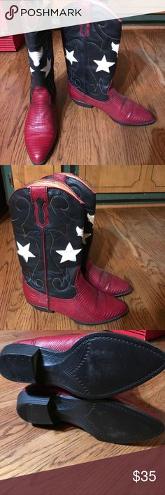 Boots by The Leather Company Patriotic Leather Company boots in Navy Red and White accents plus stitching design in all colors! Really Cute!! Size 7.5. With side pull tabs THE LEATHER COMPANY Shoes Heeled Boots