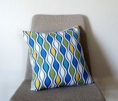 retroinspired geometric blue green yellow and white by Thrival, $35.00