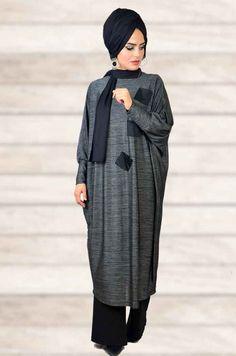Antrasit Bol Kesim Tesettür Tunik Hijab Fashion, High Neck Dress, Dresses, Style, Turtleneck Dress, Vestidos, Swag, Dress, Gown