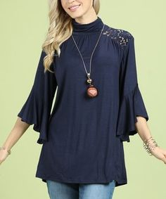 Navy Lace Mock Neck Tunic - Plus Too