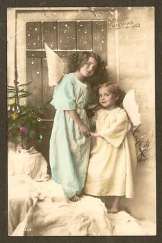 AB35 Vintage Real Photo Merry Christmas Postcard Tinted Angels GG Co St Paul | eBay