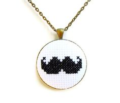 Cross Stitch Embroidery Pendant Necklace Moustache in Antique Bronze and Black. $30.00, via Etsy.