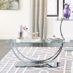 Coaster Glass Top Coffee Table In Chrome Coaster Home Fur... Https:/