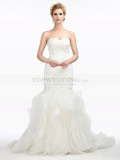 Mermaid Lace Wedding Dress with Ruffled Organza Skirt