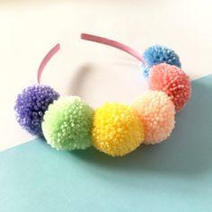 Pastel rainbow pom pom headband, Boho pompom festival crown Pom Pom Headband, Crown Headband, Pom Poms, Craft Stick Crafts, Diy Crafts, Pom Pom Bag Charm, Headbands For Women, Women's Headbands, Bohemian Headband