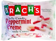 Brach's Jelly Candy Peppermint Creme Candy Canes.  Chewy Peppermint Flavored Jellies in the shape of Candy Canes with Red and White Stripes.