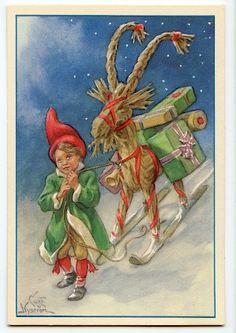 Merry Christmas And Happy New Year, Christmas Elf, Christmas Cards, Norwegian Christmas, Scandinavian Christmas, Swedish Traditions, Old Cards, Postcard Art, Elsa Beskow