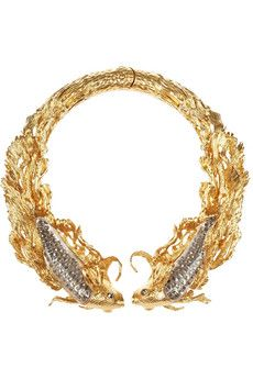 Alexander McQueen Gold-plated, Swarovski crystal and glass choker | NET-A-PORTER: Beautiful and dramatic