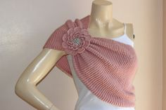 Dusty Rose Bridal Cape/Shawl with Flower