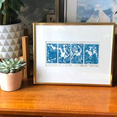 Excited to share this item from my shop: Swedish original turquoise block print modernist Scandinavian horse and riders framed by Fröken Wancke mixed media Scandinavian Art, Miniture Things, Mixing Prints, French Antiques, Mixed Media, Handmade Items, Horse, Etsy Shop, Turquoise