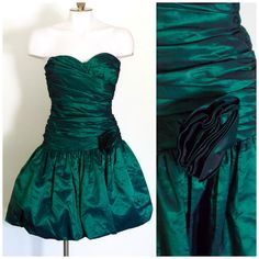 Positively Ellyn 80s metallic green drop waisted prom dress by TimeTravelFashions