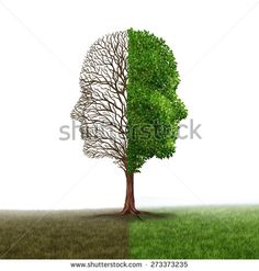 Human emotion and mood disorder as a tree shaped as two human faces with one half empty branches the opposite side full of leaves as a medical metaphor for psychological contrast in feelings white - Shutterstock Premier