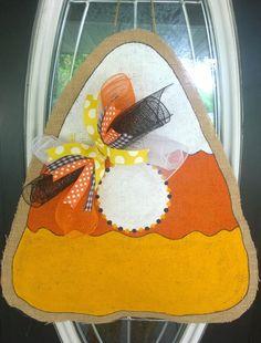 Candy Corn Burlap Door Hanger by AustinAvenueEast on Etsy