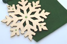 Wooden Snowflake Ornament With Swarovski Crystals  by AllThisWood