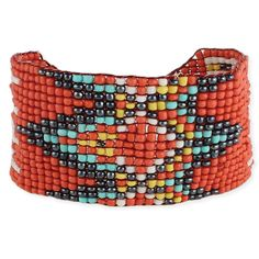"""Wide orange seed bead interlaced bead bracelet with grey, turquoise, yellow and white diamond pattern. Measurements (approx.): 7-8"""" adjustable, 1 3/8"""" wide Mate"""