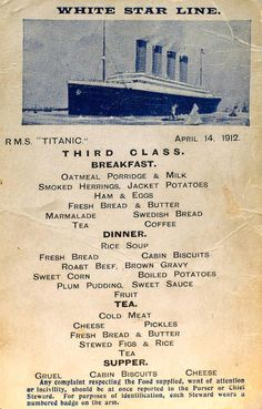 These Are Actual Menus for the Titanic's First, Second, and Third Class Passengers  - CountryLiving.com