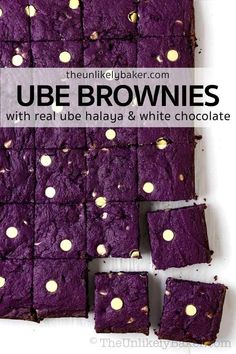 Ube brownies are a delicious, quick, and easy ube dessert. They're your favourite chewy and fudgy brownies but packed with the ube flavour you love. Made with real ube halaya or ube jam, sprinkled with white chocolate chips, so good! Give it out to friends, serve it to company, or reward yourself at the end of the day. Click to get the easy-to-follow recipe with step-by-step photo instructions. Dessert For Two, Summer Dessert Recipes, Healthy Dessert Recipes, Dessert Ideas, Fudgy Brownie Recipe, Fudgy Brownies, Brownie Recipes, Chocolate Sweets, White Chocolate Chips
