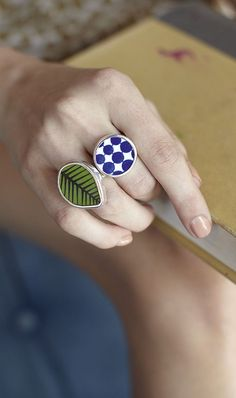 Jewellery made from reclaimed pieces of vintage Swedish pottery, set in oxidised sterling silver.