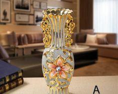 Vintage Frost Porcelain Vase Europe Gold Plated Ceramic Flower Home Decoration Ceramic Flower Pots, Flower Planters, Flower Vases, Wall Mounted Vase, Hanging Glass Terrarium, Advanced Ceramics, Porcelain Vase, Vases Decor, Vintage Ceramic