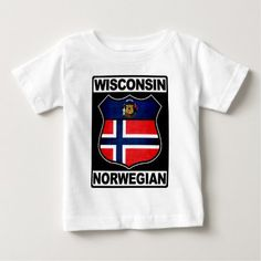 Shop Wisconsin Norwegian American Baby T-Shirt created by Celticana. Personalize it with photos & text or purchase as is! American Baby, Consumer Products, Basic Colors, Cotton Tee, Wisconsin, Sensitive Skin, Flag, Unisex, Tees