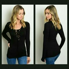 🌼Lace Up Top🌼 This black long sleeve layering tee features lace-up detailing on the neckline.  🔹If unsure of what size to order, just ask and I can provide measurements!  Material: 95% rayon 5% spandex   🚫No trades🚫  ✔Reasonable offers considered (Item #17) Tops Tees - Long Sleeve