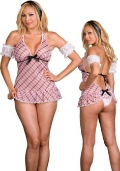 Plus Size Naughty School Girl Lingerie Costume - 5 Piece Sexy Plaid Babydoll Set