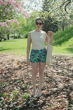 Floral shorts, crochet top