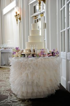 One of my favorite cake table linens ~ provided by I Do Linens (Atlanta).  Photo courtesy of Brandelyn Lee Photography.
