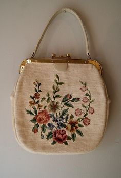 50's needlepoint handbag, 68.