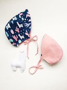 & month, Reversible Sun Bonnet, Llama/Pink by babyBbasic on Etsy Llama Print, Nape Of Neck, Alpaca Wool, 18 Months, String Bikinis, Sun, Cotton, Handmade, Etsy