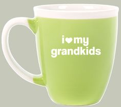 "This STYLISH green and white mug says it all! This might be especially cute for an arrangement of grandkids photos on plant stakes in a little grandkids ""garden"" for display in the home."