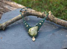 Vesonite macrame necklace with brass beads, Brass bead pendant macrame, Vintage necklace, Boho hippie jewelry, Handmade gemstone necklace