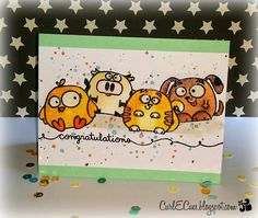 Congratulations card by Tara - Watercolor with Perfect Pearls - Paper Smooches - Chubby Chums