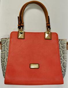 #Coral and #snake handbag at #Nicci #chic #accessory