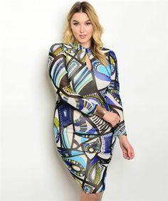 Plus size long sleeve keyhole detail multi print bodycon dress - $25.00