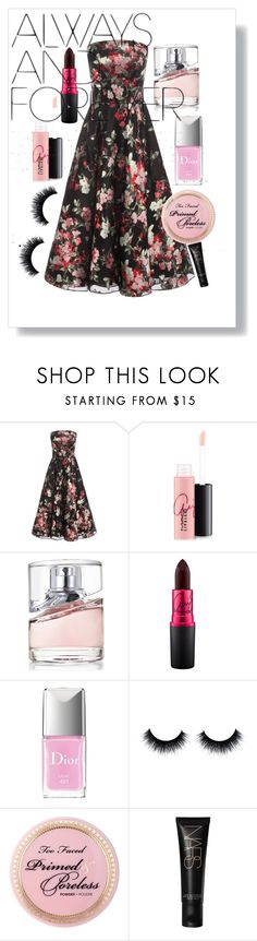 """""""Always and Forever Prom"""" by xlvlgx ❤ liked on Polyvore featuring Alexander McQueen, MAC Cosmetics, BOSS Hugo Boss and Christian Dior"""