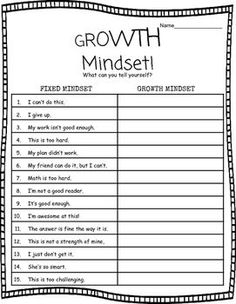 Growth Mindset Worksheet