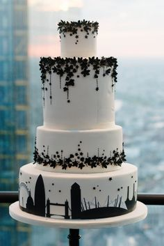 Beautiful black and white cake- could tailor bottom tier to anything- any city Black And White Wedding Cake, White Wedding Cakes, Pretty Cakes, Beautiful Cakes, Amazing Cakes, Cupcakes, Cupcake Cakes, Fondant, Wedding Cake Cookies