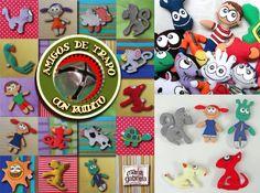 Amigos de Trapo con Ruidito Adorables personajes de tela para bebés, pintados a mano con acrílico textil.