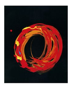 Making the enso - the Zen circle that conveys everything, the whole world, complete, the ultimate Zen symbol of emptiness - is kind of a practice. Ensos are traditionally done in sumi ink, black on white. This one, by Kazuaki Tanahashi, used currant ink on black paper. It's a brilliant contemporary example of a traditional Zen form.