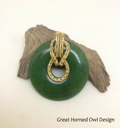 Wire Wrapped Jade Pendant In 14K Gold by GreatHornedOwlDesign on Etsy