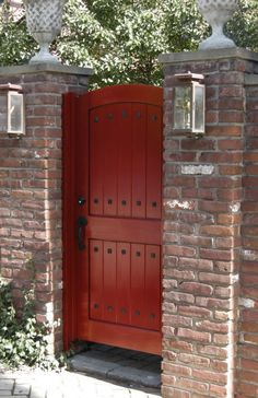 Red door with Brick & Image result for folding wooden gate   Garden   Pinterest   Wooden ... Pezcame.Com